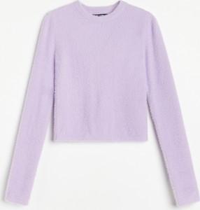 Fioletowa bluzka Reserved z okrągłym dekoltem z długim rękawem