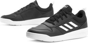 Czarne buty sportowe Adidas ze skóry z płaską podeszwą