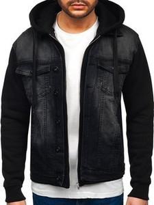 Czarna kurtka Denley w stylu casual krótka z jeansu