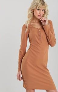 Brązowa sukienka Renee mini w stylu casual z długim rękawem