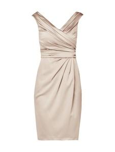 Sukienka Marie Noir z satyny bez rękawów z dekoltem w kształcie litery v