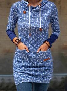 Sukienka Cikelly z okrągłym dekoltem prosta z długim rękawem