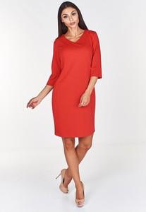 Czerwona sukienka Fokus z bawełny z długim rękawem midi