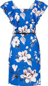 Niebieska sukienka bonprix z dekoltem w kształcie litery v z krótkim rękawem mini
