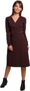 Sukienka Be z długim rękawem z dekoltem w kształcie litery v midi
