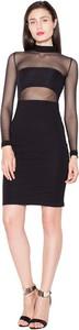 Czarna sukienka Venaton z długim rękawem mini