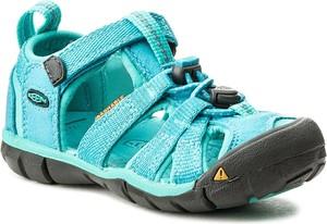Błękitne buty dziecięce letnie keen w sportowym stylu z płaską podeszwą