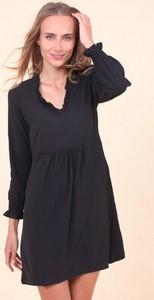 Czarna sukienka Royalfashion.pl mini z dekoltem w kształcie litery v