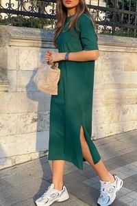 Zielona sukienka IVET w stylu casual midi z krótkim rękawem