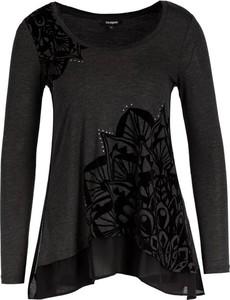 Czarna bluzka Desigual z długim rękawem z okrągłym dekoltem