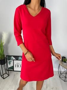 Czerwona sukienka ModnaKiecka.pl mini w stylu casual trapezowa