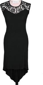 Czarna sukienka Fokus w stylu glamour z okrągłym dekoltem bez rękawów