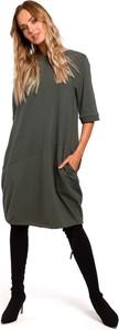Czarna sukienka MOE z krótkim rękawem bombka w stylu casual