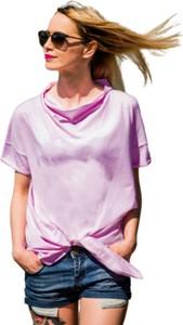 Fioletowa bluzka Look made with love z krótkim rękawem z bawełny z okrągłym dekoltem