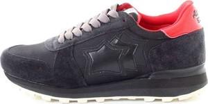 Czarne buty sportowe Atlantic STARS w sportowym stylu ze skóry sznurowane