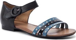 Sandały Maciejka z klamrami ze skóry z płaską podeszwą
