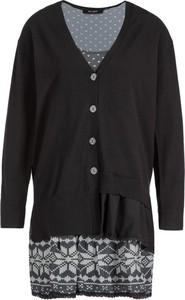 Czarna sukienka My Twin z dekoltem w kształcie litery v z długim rękawem