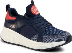 Granatowe buty sportowe Skechers sznurowane ze skóry ekologicznej