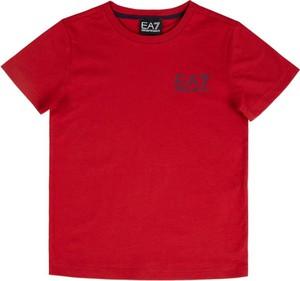 Czerwona koszulka dziecięca EA7 Emporio Armani z krótkim rękawem