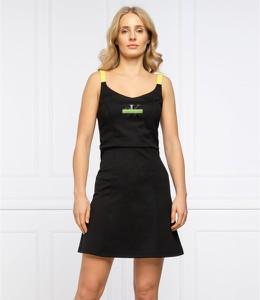 Czarna sukienka Calvin Klein mini na ramiączkach