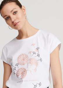 Reserved Koszulka z sercem Biały damski Ceny i