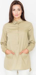 Zielona koszula Figl z długim rękawem z bawełny