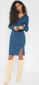 Niebieska sukienka ORSAY z długim rękawem ołówkowa