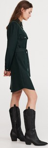 Turkusowa sukienka Reserved mini z kołnierzykiem