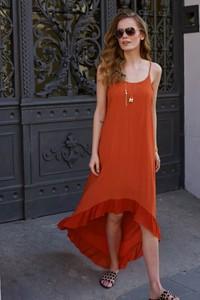 Czerwona sukienka Makadamia Limited asymetryczna maxi