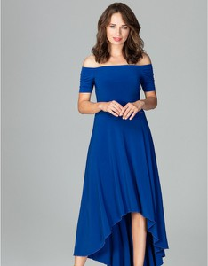 Niebieska sukienka LENITIF asymetryczna z krótkim rękawem