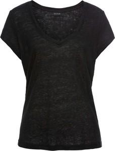 Czarny t-shirt bonprix BODYFLIRT z lnu