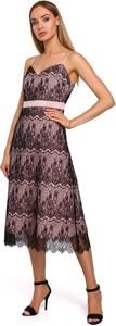 Sukienka Merg na ramiączkach z dekoltem w kształcie litery v midi