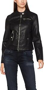 Czarna kurtka amazon.de krótka ze skóry ekologicznej w stylu casual