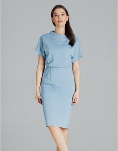 Niebieska sukienka LENITIF z krótkim rękawem