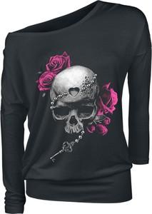 Czarna bluzka Emp w młodzieżowym stylu z długim rękawem