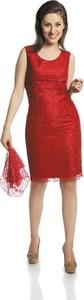 Czerwona sukienka Fokus w stylu glamour bez rękawów z tkaniny