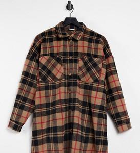 Pieces Maternity – Camelowa kurtka koszulowa oversize w kratę-Wielokolorowy