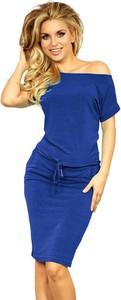 Niebieska sukienka NUMOCO z dekoltem w łódkę midi w stylu casual