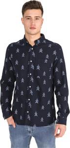 Granatowa koszula Jack & Jones z bawełny z długim rękawem