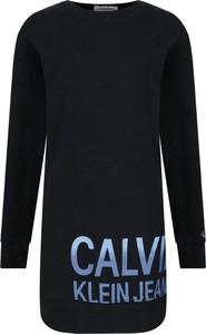 Czarna sukienka dziewczęca Calvin Klein z jeansu