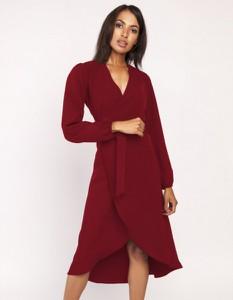 Czerwona sukienka Lanti z dekoltem w kształcie litery v z długim rękawem