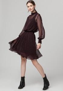 Sukienka Solar z tkaniny z długim rękawem rozkloszowana