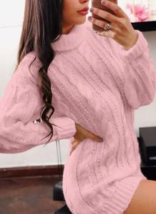Różowa sukienka Cikelly z długim rękawem mini z golfem