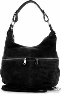 Czarna torebka GENUINE LEATHER ze skóry duża w stylu glamour