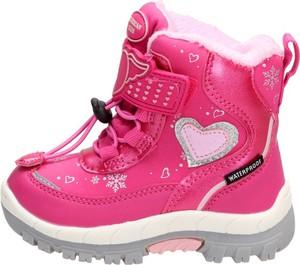 Różowe buty dziecięce zimowe Suzana sznurowane