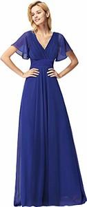 Niebieska sukienka Ever Pretty z dekoltem w kształcie litery v maxi