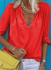 Czerwona bluzka Cikelly w stylu casual z długim rękawem z dekoltem w kształcie litery v