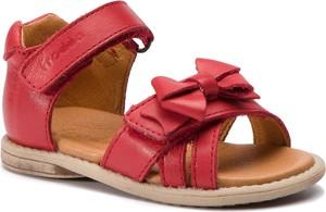 Czerwone buty dziecięce letnie Froddo na rzepy ze skóry