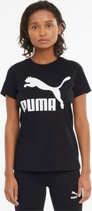 Czarny t-shirt Puma z okrągłym dekoltem w sportowym stylu z krótkim rękawem