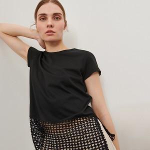 Czarna bluzka Reserved z okrągłym dekoltem w stylu casual